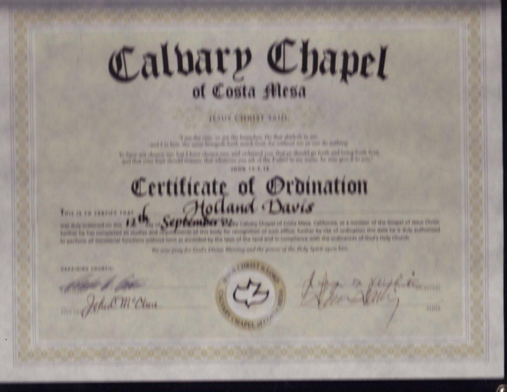 Holland Davis Ordained by Pastor Chuck